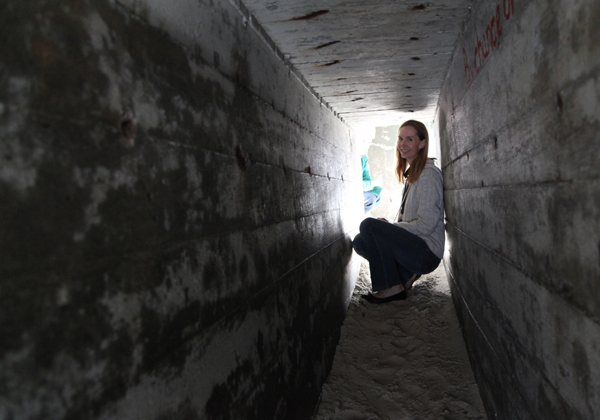 Inge Tranter in a bunker tunnel